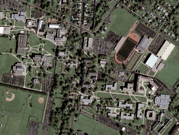 GeoEye-1 image of Kutztown University, Pennsylvania. Pic: GeoEye Satel