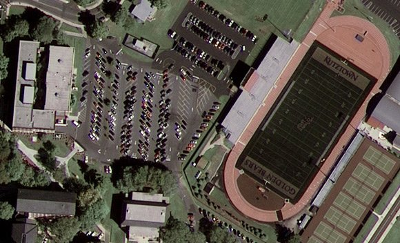 Close-up of GeoEye-1 image of Kutztown University, Pennsylvania. Pic: GeoEye Satellite Image