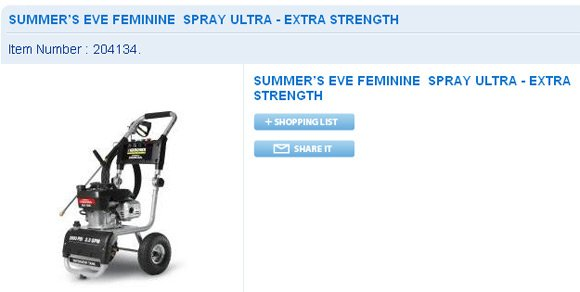 Wal-Mart screen grab showing industrial applicator for feminine deodorant