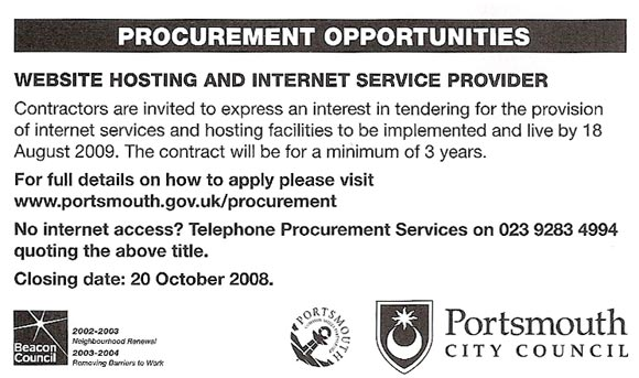Portsmouth ISP procurement ad offering telephone number in case of no internet access