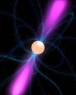 An artist's impression of the pulsar, its magnetic field lines and gamma ray emissions