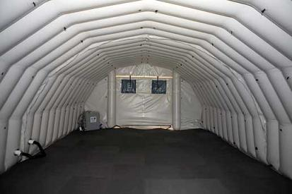 Inside the inflatable habitat