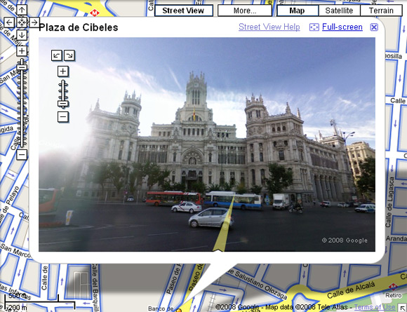 Street View of Madrid's Plaza de Cibeles
