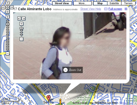 Street View image of woman's blurred face in Seville