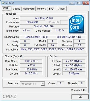 Intel Core i7 920 CPU-Z