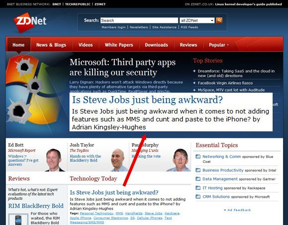 ZDnet front page which asks: Is Steve Jobs just being awkward when it comes to not adding features such as MMS and cut and paste to the iPhone?