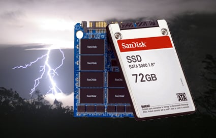 SanDisk SSD against lightning background