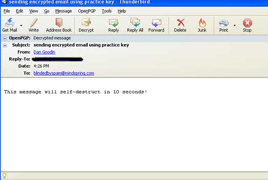 With the private key, email looks like this