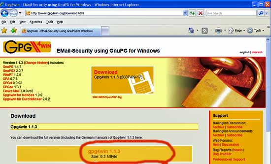 Gpg4Win download page