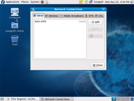 Fedora 10 network