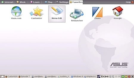 Asus Eee PC desktop with added icons