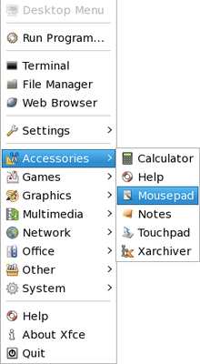 AA1 Desktop Menu