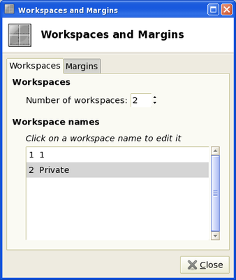 Acer Aspire One workspaces editor