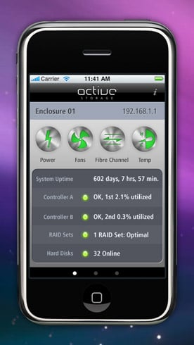 Active Storage XRAID iPhone monitor app