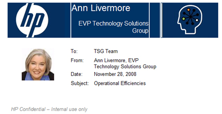 Ann Livermore HP memo