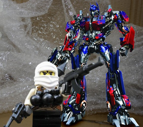 Optimus Prime tackles the <p>Toy Taliban