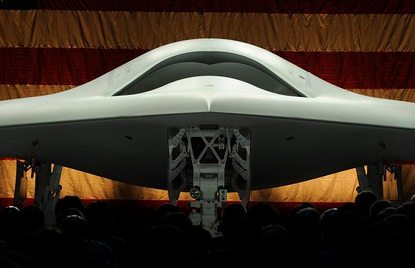 The X-47B Unmanned Combat Air System at its rollout ceremony