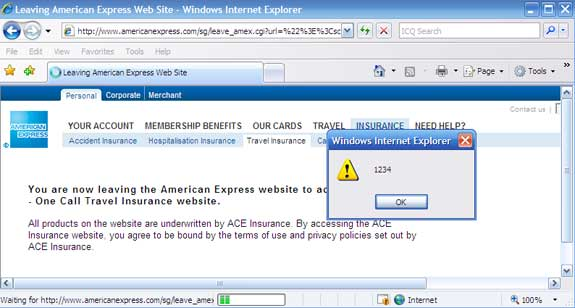 """Browser with popup window that reads """"1234"""""""