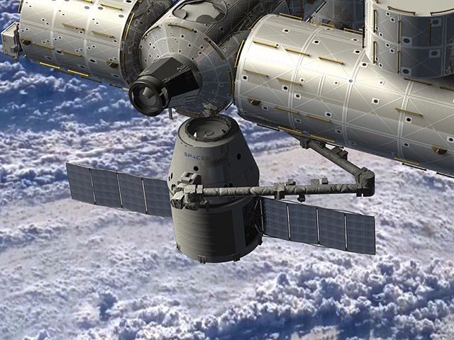 SpaceX art of a Dragon cargo module docking with the ISS