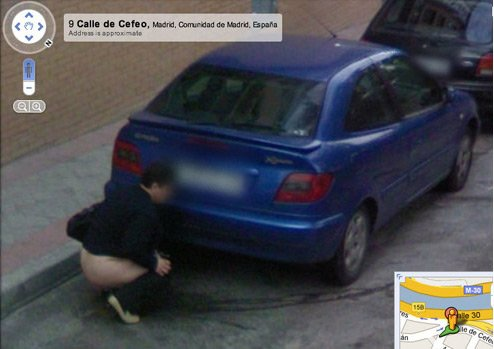 Urinating woman caught on Street View