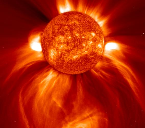 NASA composite image of a solar coronal mass ejection event in 2002