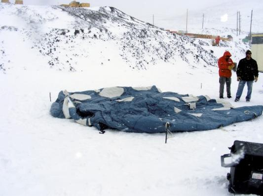 The prototype inflatable habitat module in the course of Antarctic er