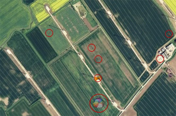 The same satellite view with points of interest highlighted