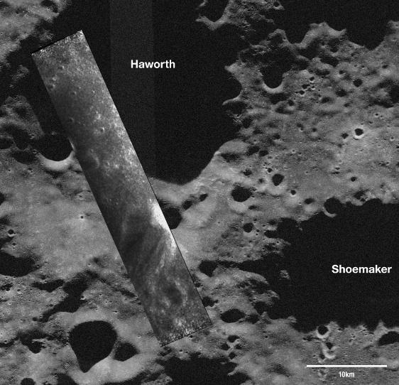 NASA overlay of Mini-SAR imagery from Chandrayaan-1 onto Arecibo radar telescope pic of the lunar south pole