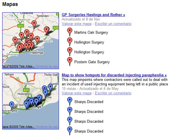 User maps showing drug parafernalia and handy guide to Hasting's GP surgeries