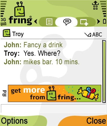 Fring screen with banner advert