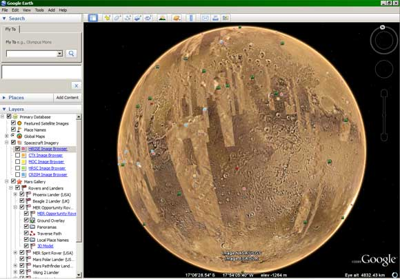 Mars as seen on Google Earth