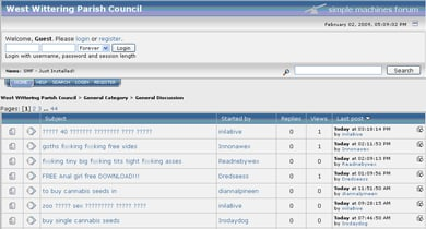 screen grab of wittering web site