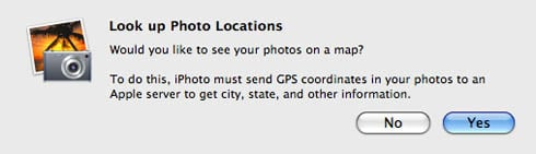 iPhoto '09 Places - database warning