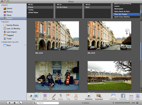 iPhoto '09 Places column view