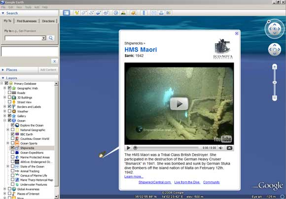 Ocean layer showing shipwreck and link to YouTube video