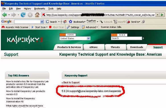 Screenshot of page showing hacked Kaspersky page