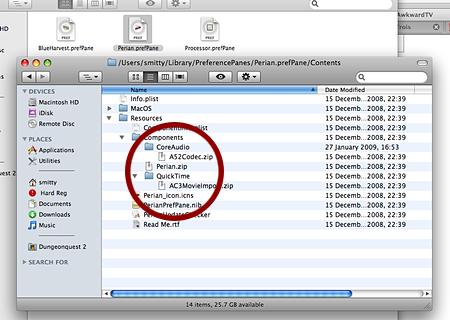 Perian Mac OS X Prefs Panel internals