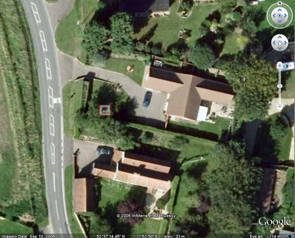 Toad hotspot in Little Melton seen on Google Earth