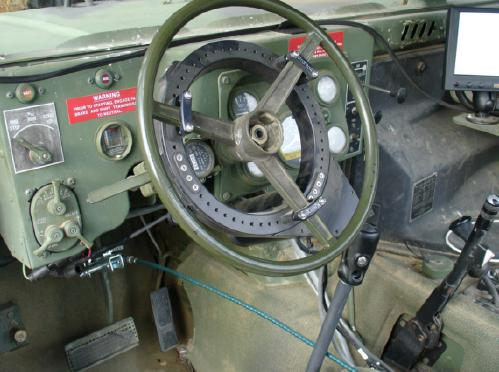 A US Humvee's controls fitted with the Pronto4 autonomous driver kit