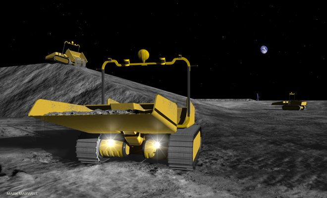 Astrobotic concept art of the firm's proposed robotic moon dumptrucks