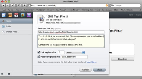 Apple's MobileMe file sharing