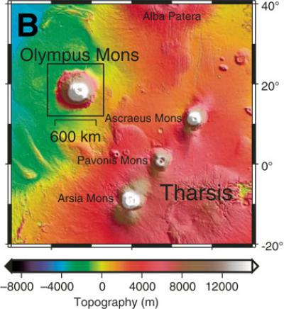 Contour mapping of mighty Olympus Mons, adjacent to the Tharsis altiplano