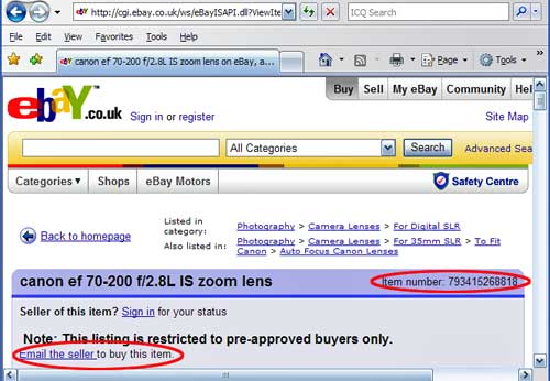 Screenshot of fraudulent eBay listing