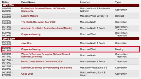 Moscone Convention Center: May/June 2009 schedule
