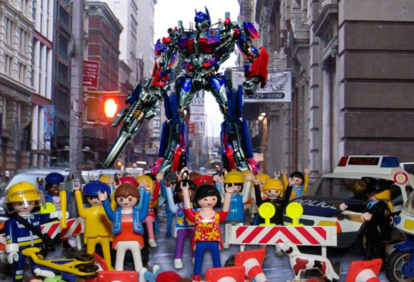 Optimus Prime provokes Top Model stampede