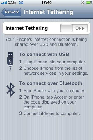 iPhone 3.0 tethering interface