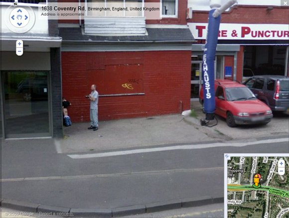 Small boy caught urinating on Street View