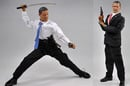 Obama with samurai sword and in James Bond pose with pistol