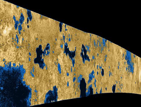 A Cassini image of the polar hydrocarbon lakes of Titan