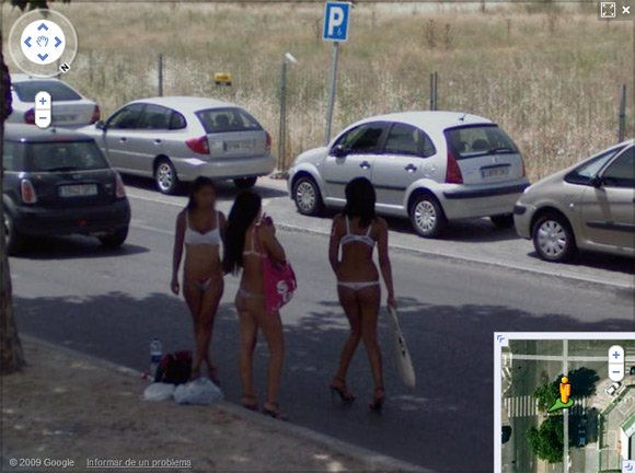 Three prostitutes in bikinis on Street View